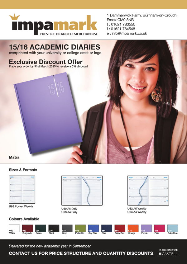 If you cannot see the image please enable remote images or click this link - http://vtiger.impamark.co.uk/phplist/uploadimages/files/2015-Diaries/ImpamarkAcademicDiaries.png