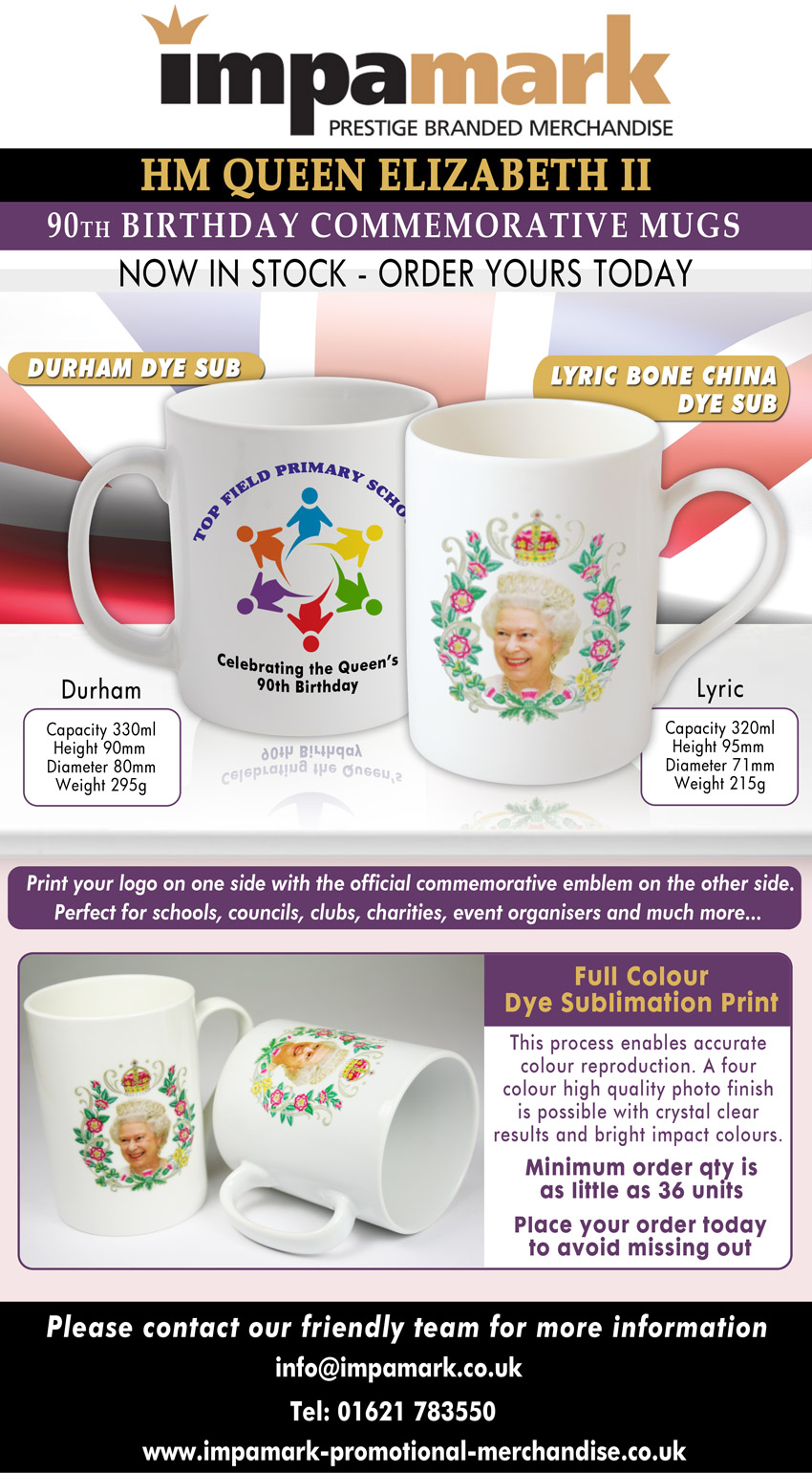 If you cannot see the image please Show Remote Images in your email client or see the full page here http://www.impamark-promotional-merchandise.co.uk/blog/queen-elizabeth-90th-anniversary-mugs/