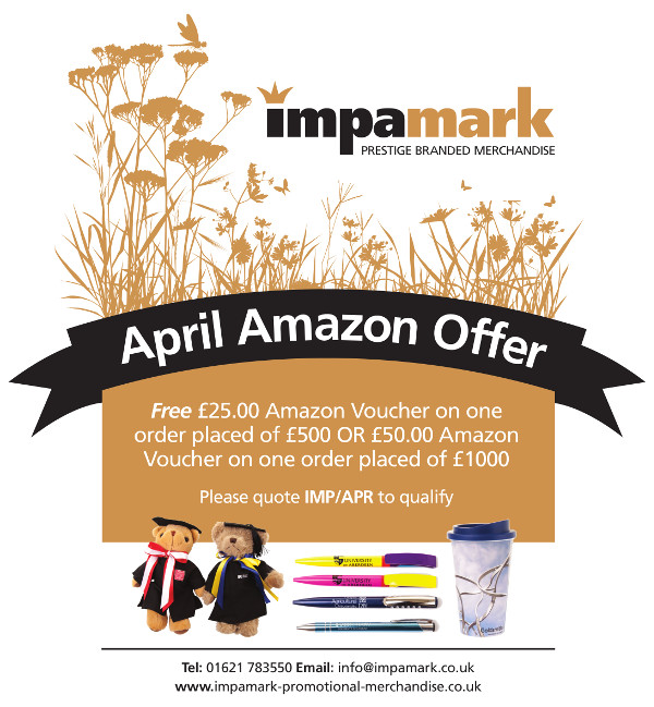 If you cannot see the image please Show Remote Images in your email client or see the full page here http://www.impamark-promotional-merchandise.co.uk/blog/april-amazon-offer/