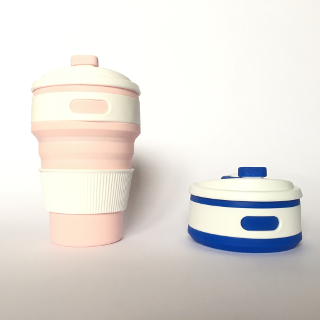 Tortuga Mugs collapsed and uncollapsed in pink and blue